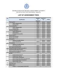 LIST OF ASSESSMENT FEES - Tesda