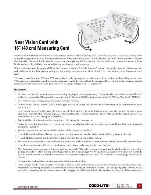 LEA Symbols Near Vision Card - PDF - Good-Lite Company