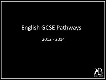 English GCSE Pathways - Bohunt School