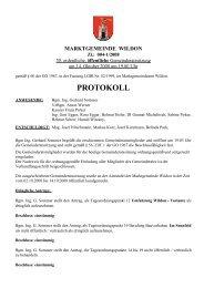 Protokoll der 30. Gemeinderatssitzung - Marktgemeinde Wildon
