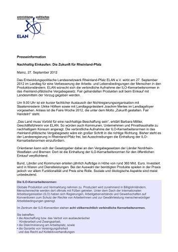 Die Zukunft für Rheinland-Pfalz Mainz, 27. September 2012 ... - ELAN