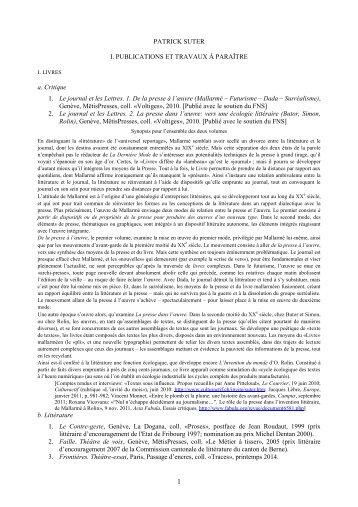 liste des publications - Institut de langue et de littérature françaises