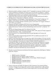 curriculum formativo e professionale dr. eugenio provenzano