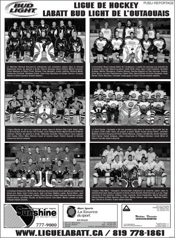 Ligue de hockey Labatt Bud Light de l'Outaouais www.liguelabatt.ca ...