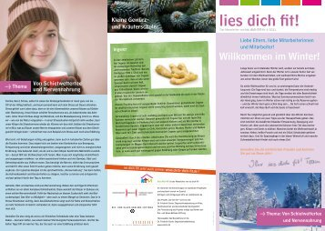 """lies dich fit!"""" Winter 2011 - iss dich fit!"""