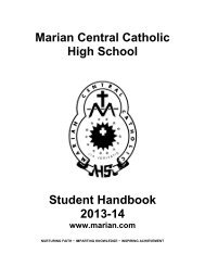 Marian Central Catholic High School Student Handbook 2013-14