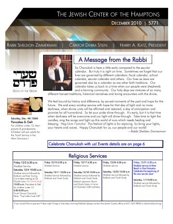 A Message from the Rabbi - Jewish Center of the Hamptons
