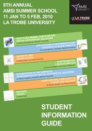 AMSI Summer School 2010 Student Information Guide (Web Edition)