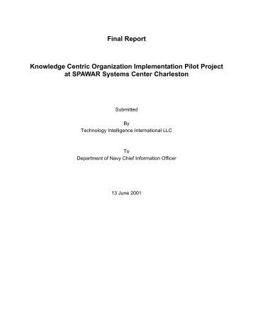 Final Report Knowledge Centric Organization ... - NASA Wiki