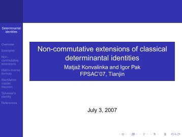 Non-commutative extensions of classical determinantal identities