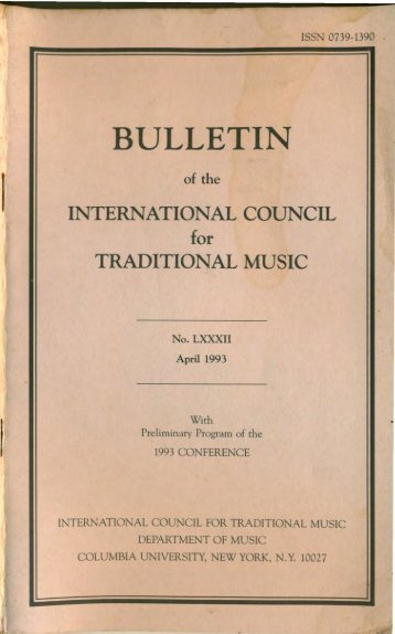 Apr 1993 - International Council for Traditional Music