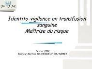 Identito-Vigilance en transfusion sanguine : maîtrise du risque