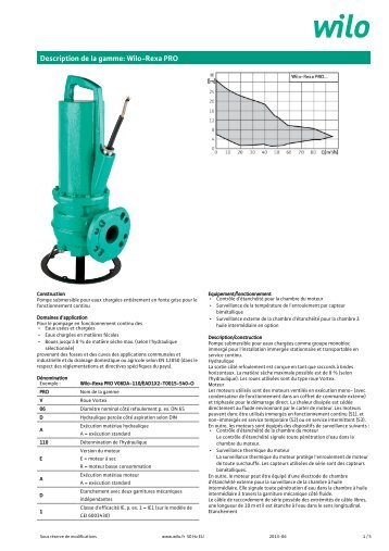 Description de la gamme: Wilo-Rexa PRO - General Technic