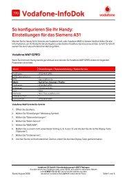 Infodok 770: Einstellungen für das Siemens A31