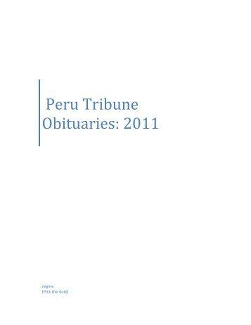 Peru Tribune Obituaries: 2011 - Debby's Web Pages