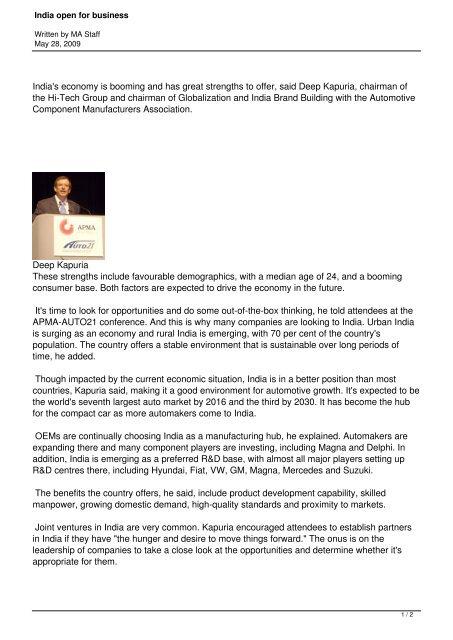 India open for business - Hi-Tech Gears Ltd