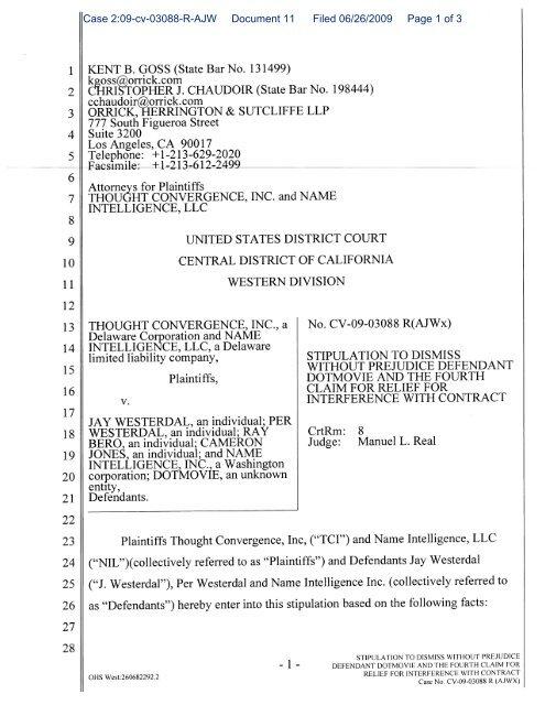 Case 2:09-cv-03088-R-AJW Document 11 Filed 06/26/2009 Page 1 ...