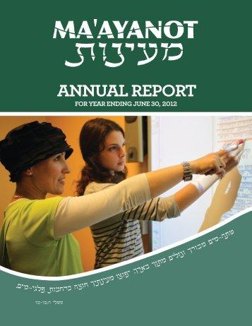 ANNUAL REPORT - Ma'ayanot Yeshiva High School for Girls
