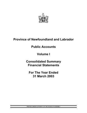 Public Accounts 2003 Volume I (PDF) - Finance - Government of ...