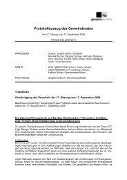 Protokollauszug des Gemeinderates - Gemeinde Gamprin