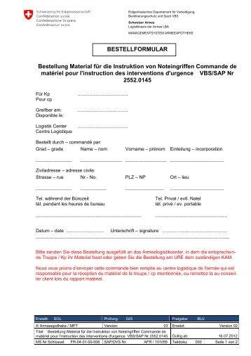 Material für die Instruktion von Noteingriffen - Logistikbasis der ...