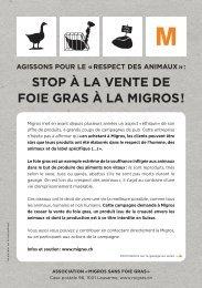 Flyer Campagne Migros sans foie gras - ATRA