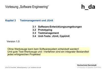 Testen, Testmanagement, Unit-Tests - beim Fachbereich Informatik ...