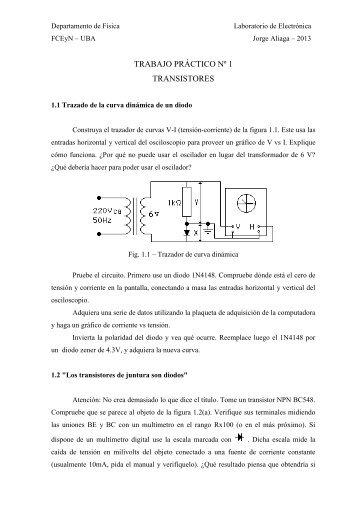 TRABAJO PRÁCTICO Nº 1 TRANSISTORES - Departamento de Física