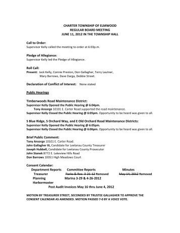 June 11, 2012 Draft Board Meeting Minutes - Leelanau County