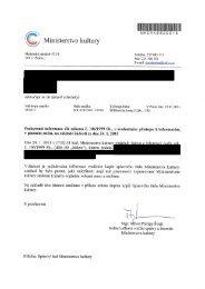 Odpověď na základě žádosti z 24.1.2011 - Ministerstvo kultury