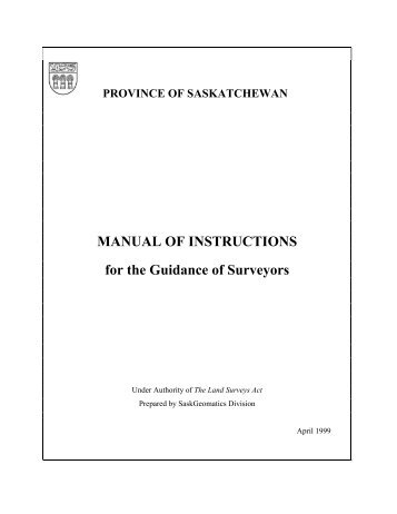 MANUAL OF INSTRUCTIONS for the Guidance of Surveyors