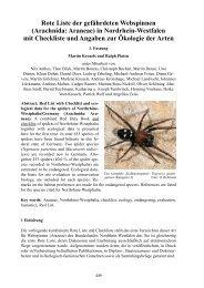 Rote Liste der gefährdeten Webspinnen in Nordrhein ... - LANUV NRW