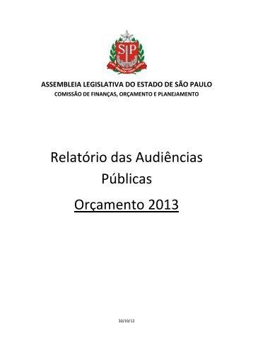 Relatório das Audiências Públicas - Orçamento 2013 - Assembleia ...