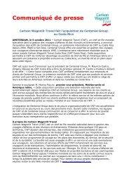 Carlson Wagonlit Travel fait l'acquisition de Centenial Group au ...