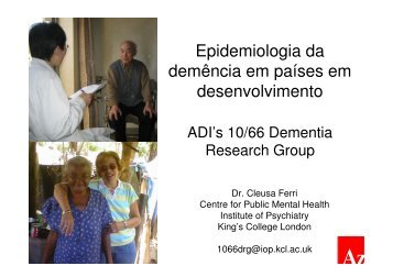Epidemiologia da demência em países em ... - Epi2008