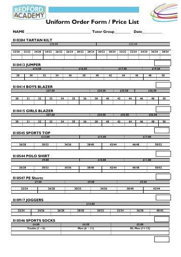 Bedford Academy Uniform Order Form 2012