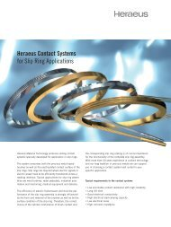 Heraeus Contact Systems for Slip Ring Applications