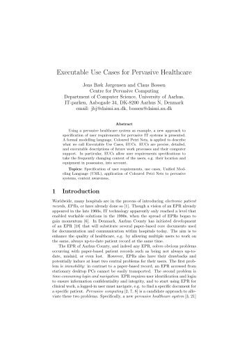 Executable Use Cases for Pervasive Healthcare - Centre for ...