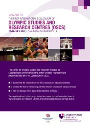olympic studies and research  centres (oscs) - Loughborough ...