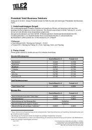 Preisblatt Tele2 Business Telefonie