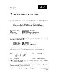 EU DECLARATION OF CONFORMITY - Linx Printing Technologies