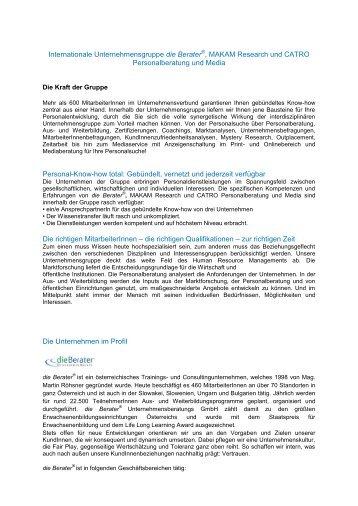 Internationale Unternehmensgruppe die Berater - Senat der Wirtschaft
