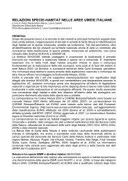 RELAZIONI SPECIE-HABITAT NELLE AREE UMIDE ITALIANE - Ispra