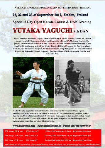 Special 3 Day Open Karate Course & Dan Grading - International ...