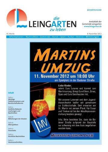 11. November 2012 um 18:00 Uhr - Gemeinde Leingarten