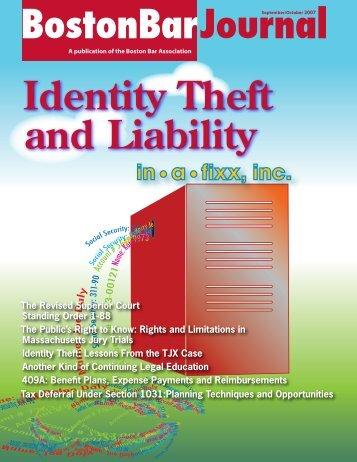 Identity Theft and Liability BostonBarJournal - Boston Bar Association