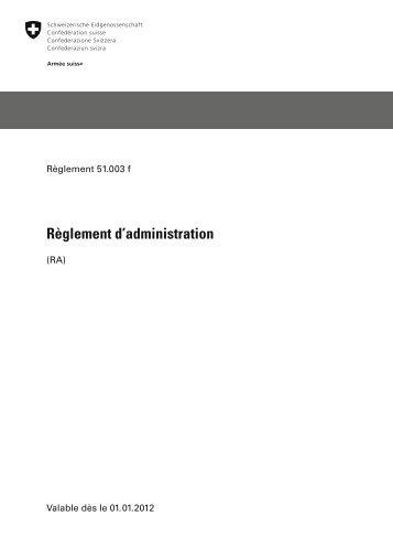 Règlement d'administration - Logistikbasis der Armee LBA