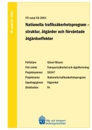 Nationella trafiksäkerhetsprogram – struktur, åtgärder och ... - VTI