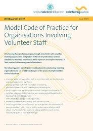 Model Code of Practice for Organisations Involving Volunteer Staff