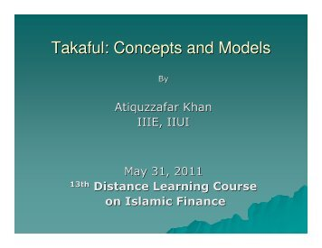 Takaful: Concept and Model by Atiquzzafar Khan